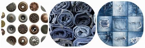 Jeansstoff und Jeansknöpfe